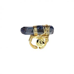 Wrapped Blue Quartz Ring Gold 14k Laminated