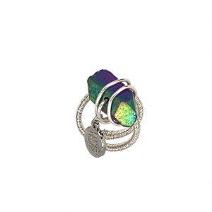 Wrapped Aura Quartz Ring Silver Wire