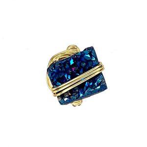 Wrapped Quartz Titanium Ring Gold 14K Laminated