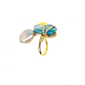 Mother of Pearl Twisted Ring 14K Yellow Gold Laminated Wire Adjustable