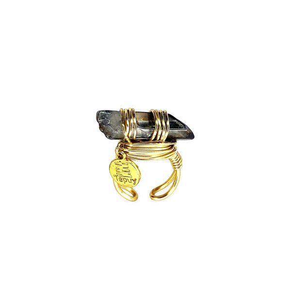 Wrapped Smokey Quartz Ring Gold 14k Laminated