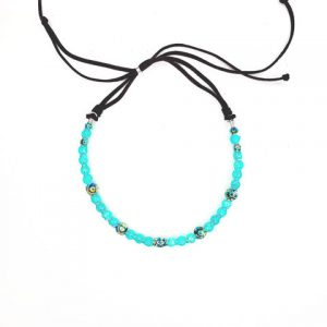 Turquoise Agate Confetti Wrapped Choker