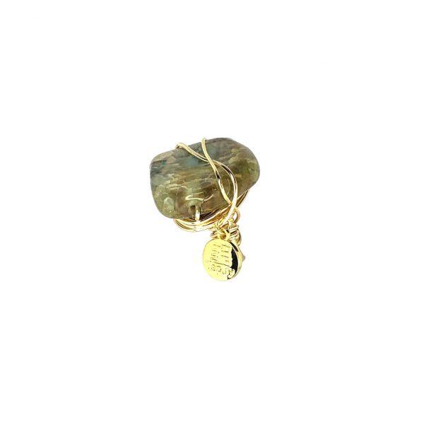 Wrapped Gemstone Ring Gold 14K Laminated Adjustable