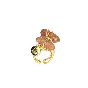 Wrapped Twins Quartz Ring 14k Gold Laminated Wire
