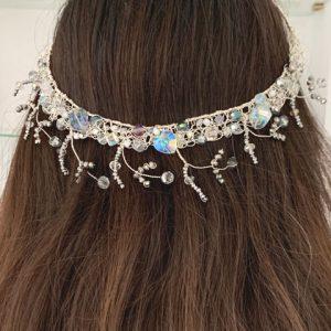 Boho Chic Blue Crystal & Silver Wire Tiara