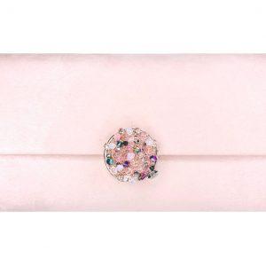 AB Crystals & Rose Gold Botton Luxury Clutch
