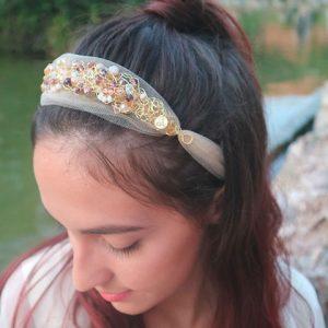 Amber Crystals & Gold Tulle Headband