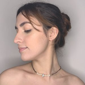 Violet Nacar Cross & Mini Fresh Pearls Water Cultivated Choker