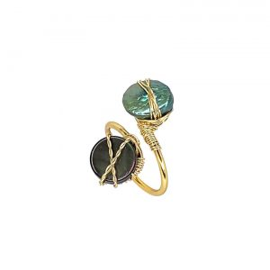 Black Nacar & Mother of Pearl Twisted Ring 14K Yellow Gold Laminated Wire Adjustable