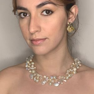 Pearls, Quartz, Moonstone & Crystal 14k Yellow Gold Laminated Wire Necklace