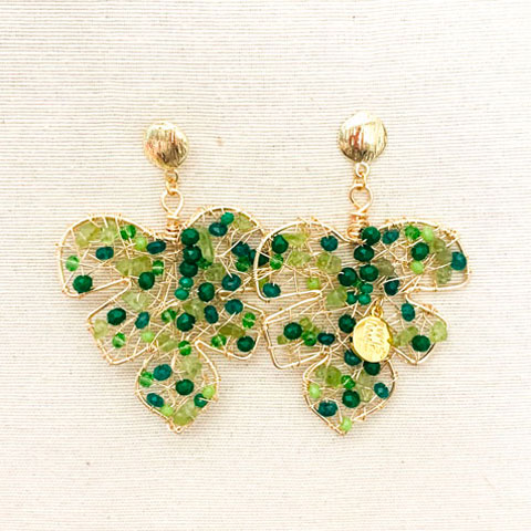 Paradise Leaf 14k Yelow Gold Laminated Wire Earrings