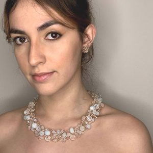 Moonstone & Crystal Rose Gold Laminated Wire Necklace
