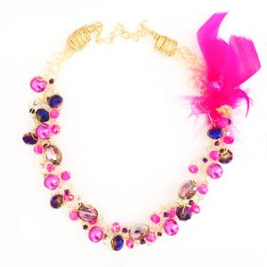 Spectrum Fuchsia Crystals & Pearls Necklace