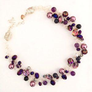 Spectrum Violet Crystals & Pearls Silver Wire Necklace
