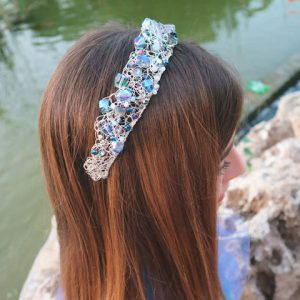 Blue Marquise Crystal & Silver Wire Tiara