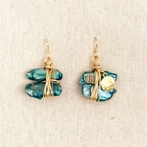 Turquoise Mother of Pearl Twin & 14k Laminated Gold Earrings
