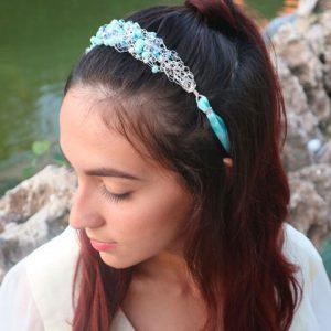 Aquamarine Fresh water Pearls, Crystals & Silver Headband
