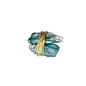 Wrapped Turquoise Mother or Pearl Ring 14K Yellow Gold Laminated Wire Adjustable