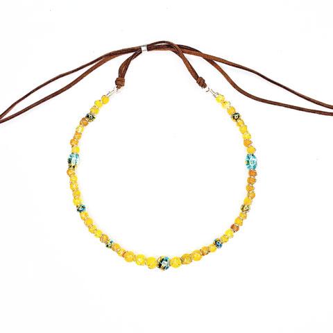 Yellow Agate Confetti Wrapped Choker