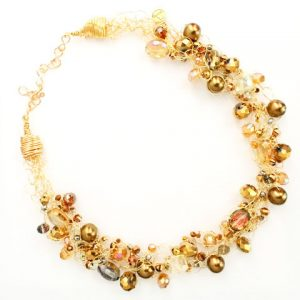 Spectrum Gold Crystals & Pearls Necklace